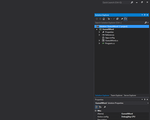 image showing highlighted solution on right side of Visual Studio