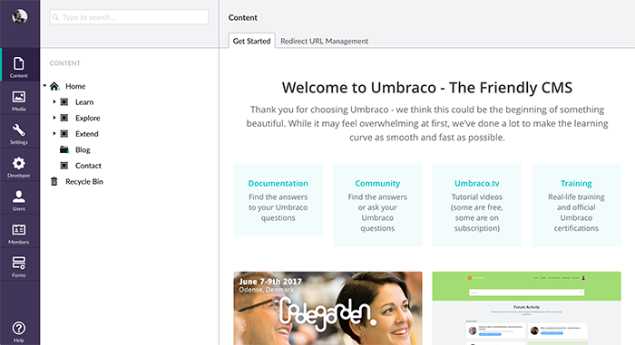 Screenshot of the Umbraco administrator area in 2017